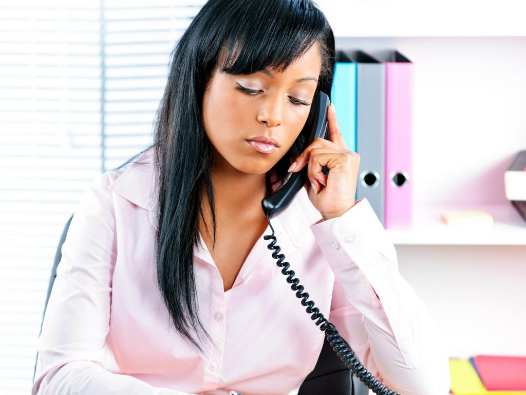 office woman on a call
