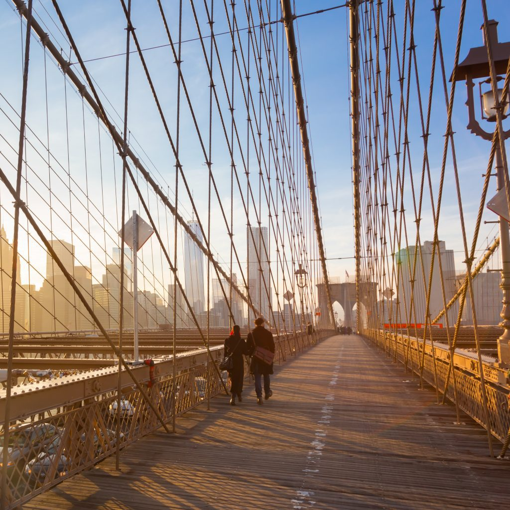 couple on brooklyn bridge width=